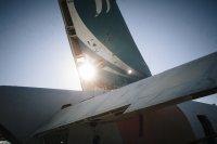 Fragment samolotu z bliska